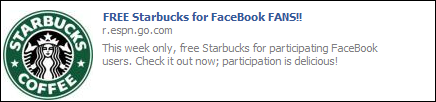 Free Starbucks for FaceBook FANS