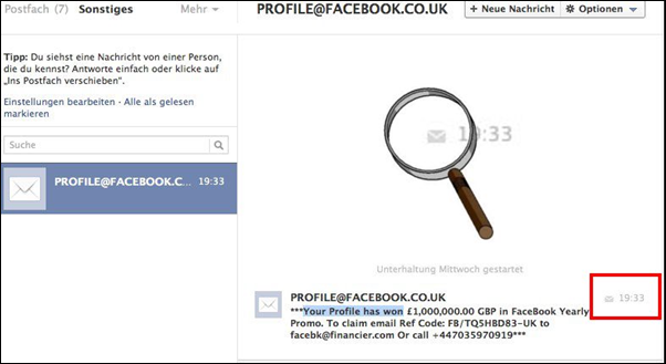Scam-Mail von PROFILE@FACEBOOK.CO.UK