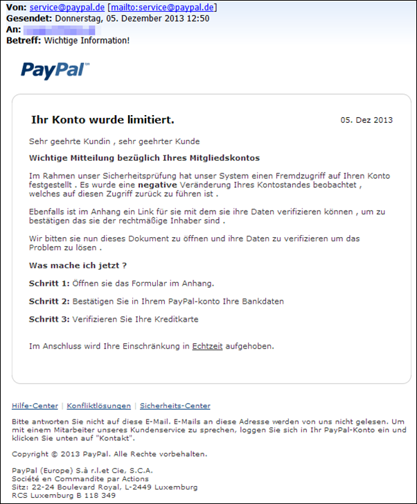 paypal betrugsmail