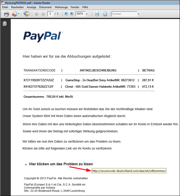 paypal phishing versuch inkl rechnung im dateianhang. Black Bedroom Furniture Sets. Home Design Ideas