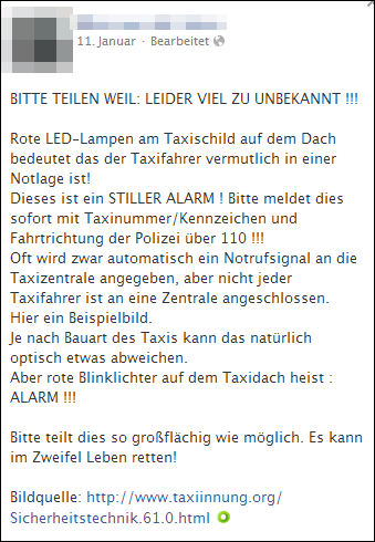 Rote LED-Lampen am Taxischild sind kein Fake • mimikama