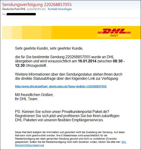 trojaner warnung e mails von dhl im umlauf mimikama. Black Bedroom Furniture Sets. Home Design Ideas