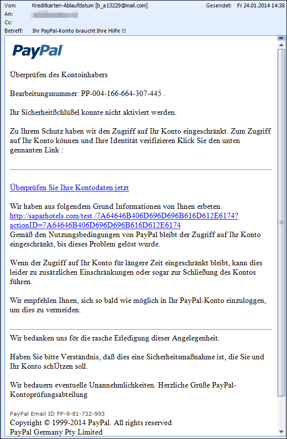 PayPal Phishing E-Mail