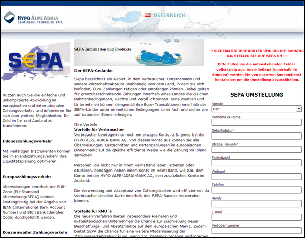 """Hypo Alpe-Adria-Bank AG"" Spam E-Mail"