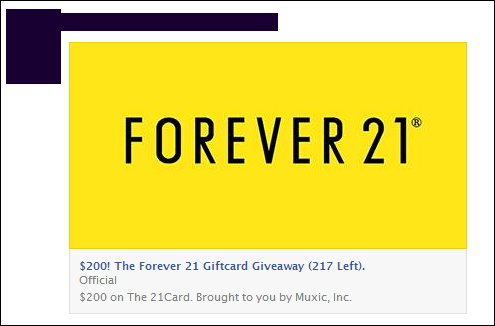 $200! The Forever 21 Giftcard