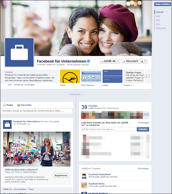 Altes Facebook Design