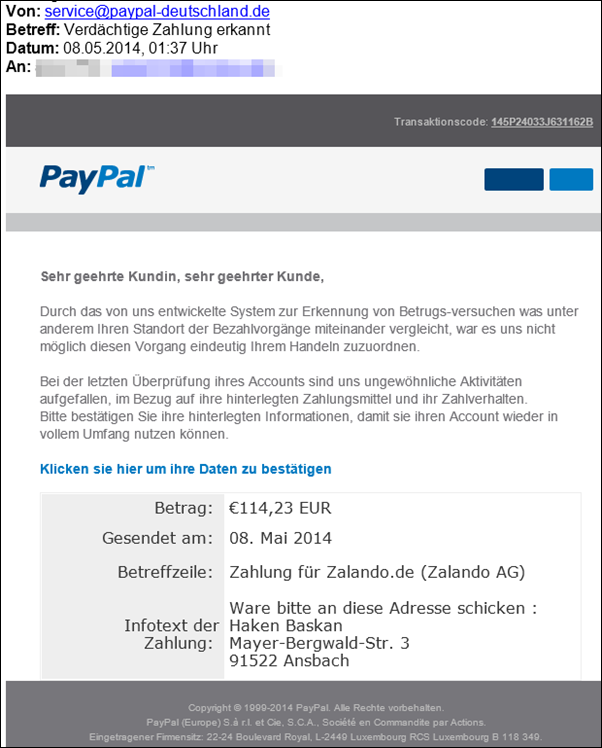 paypal phishing verd chtige zalando zahlung erkannt ware an haken baskan schicken mimikama. Black Bedroom Furniture Sets. Home Design Ideas