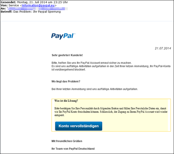 Paypal Sperrung