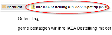 ikea bestellung e mail mit trojaner im umlauf mimikama. Black Bedroom Furniture Sets. Home Design Ideas