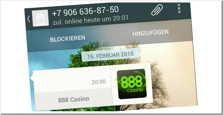 888 casino whatsapp