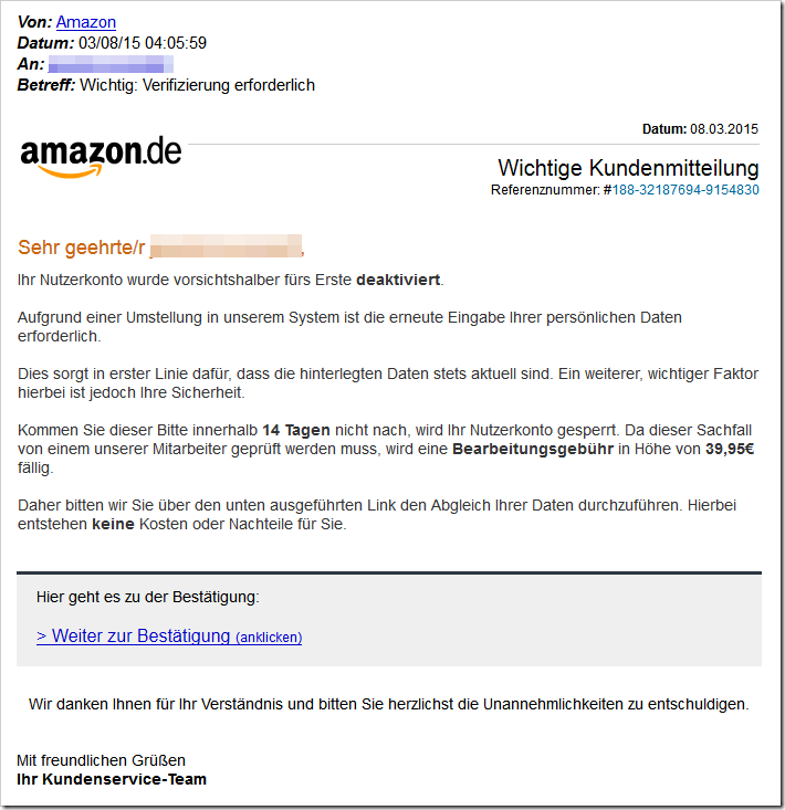 amazon email betrugsversuch