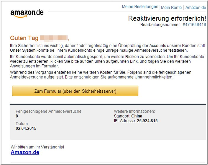 reaktivierung erforderlich amazon phishing mimikama. Black Bedroom Furniture Sets. Home Design Ideas