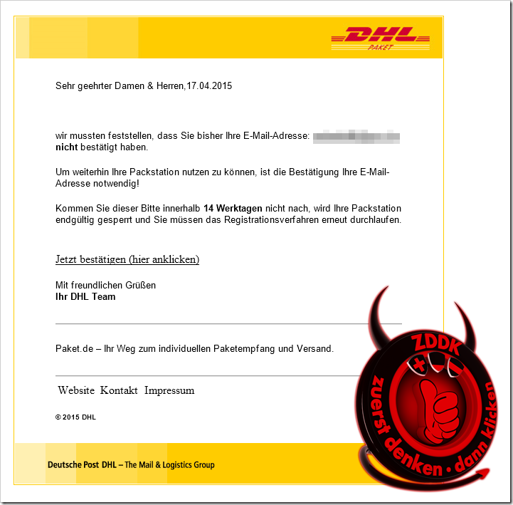 dhl packstation email verifizieren warnung mimikama. Black Bedroom Furniture Sets. Home Design Ideas