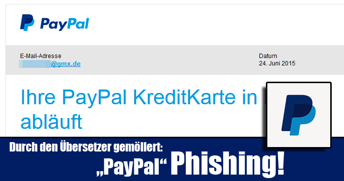 ihre paypal kreditkarte in k rze abl uft phishing mimikama. Black Bedroom Furniture Sets. Home Design Ideas