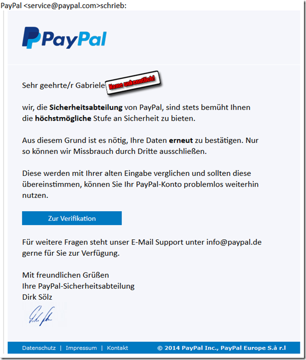 sehr echt wirkendes phishing falsche paypal mail will pers nliche daten erlangen mimikama. Black Bedroom Furniture Sets. Home Design Ideas