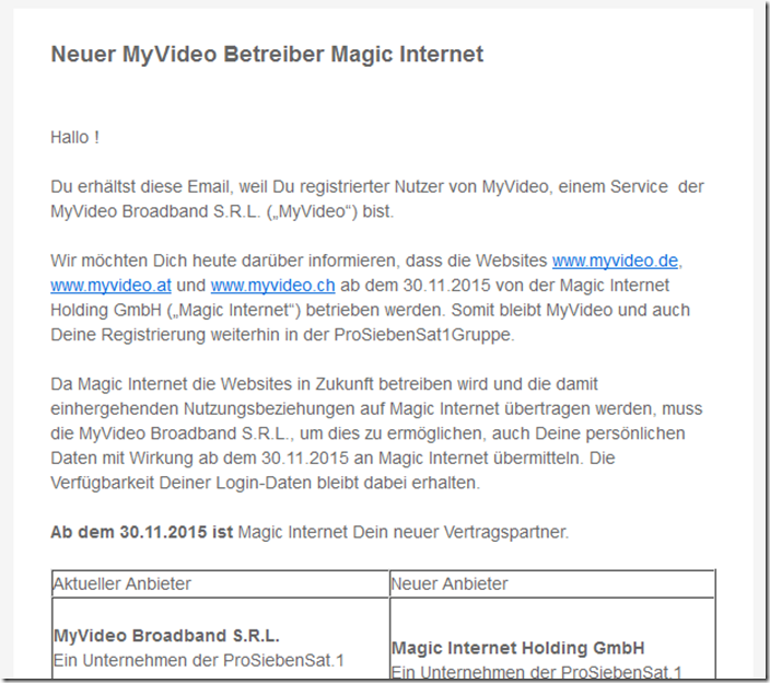 magic internet holding gmbh