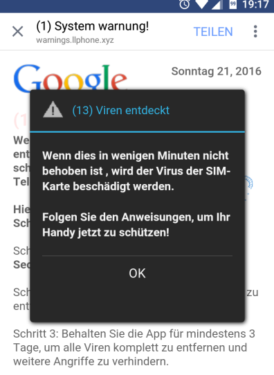 Google Virus Warnung Handy