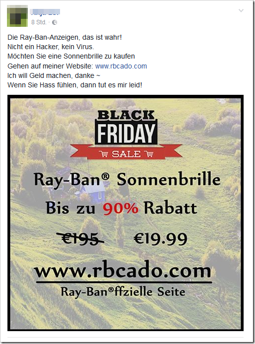 black friday ray ban sonnenbrillen auf facebook warnung mimikama. Black Bedroom Furniture Sets. Home Design Ideas