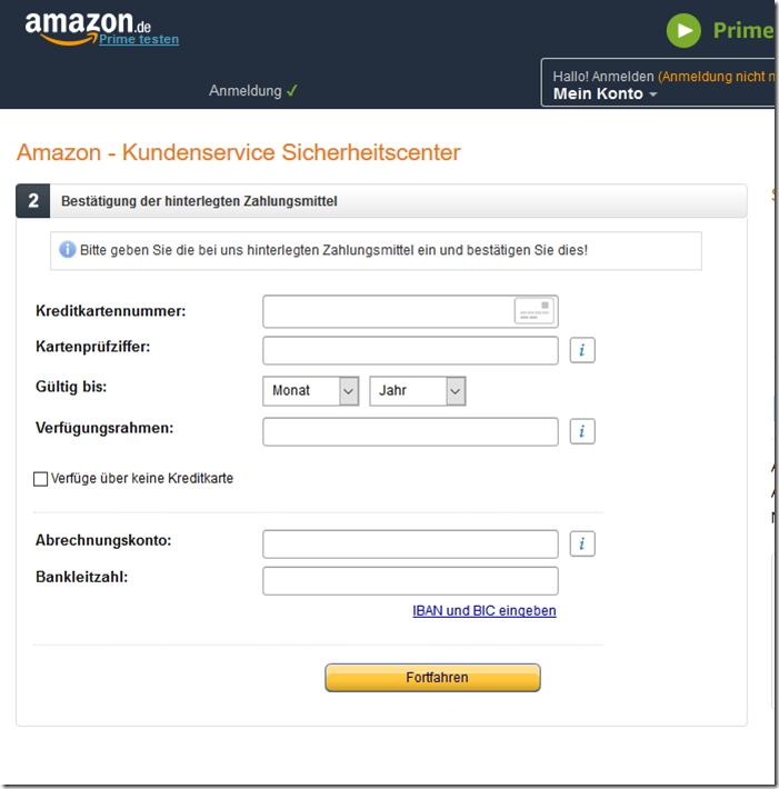 email amazon konto unsicher