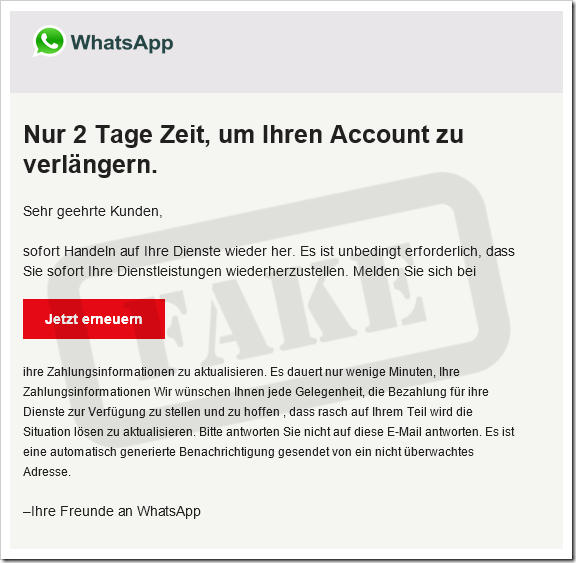Screenshot der falschen WhatsApp E-Mail
