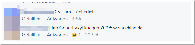 Screenshot: Facebook-Nutzer-Kommentar