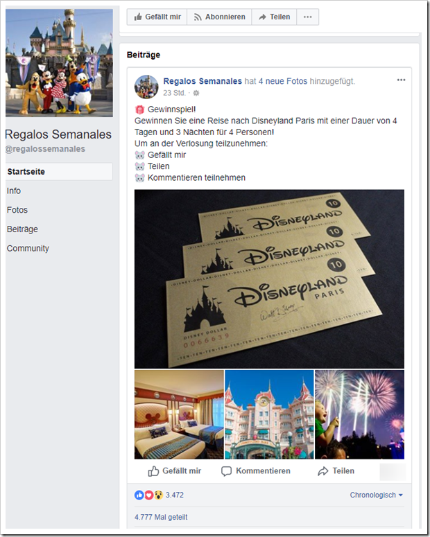 facebook gewinnen sie eine reise nach disneyland paris mimikama. Black Bedroom Furniture Sets. Home Design Ideas
