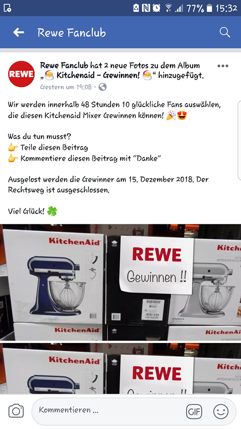 fake gewinnspiel hier gibt es keinen kitchenaid mixer zu gewinnen mimikama. Black Bedroom Furniture Sets. Home Design Ideas