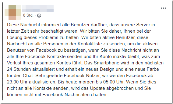 Screenshot des Kettenbriefes auf Facebook [mimikama.at]