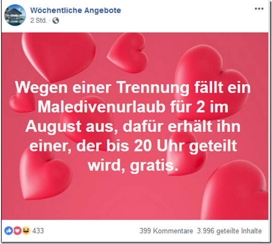 Screenshot: Facebook 26.04.2019
