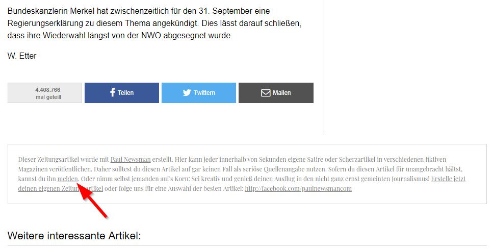 Hier findest du die Option, den Artikel zu melden. / Screenshot by mimikama.at