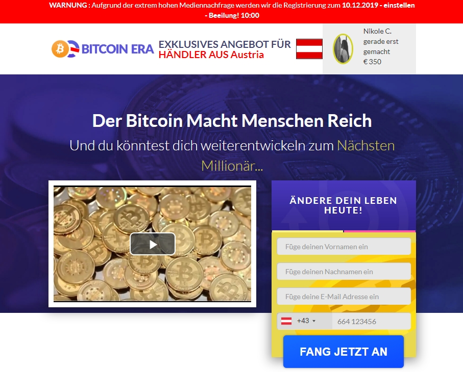 Screenshot der dubiosen Bitcoin-Webseite