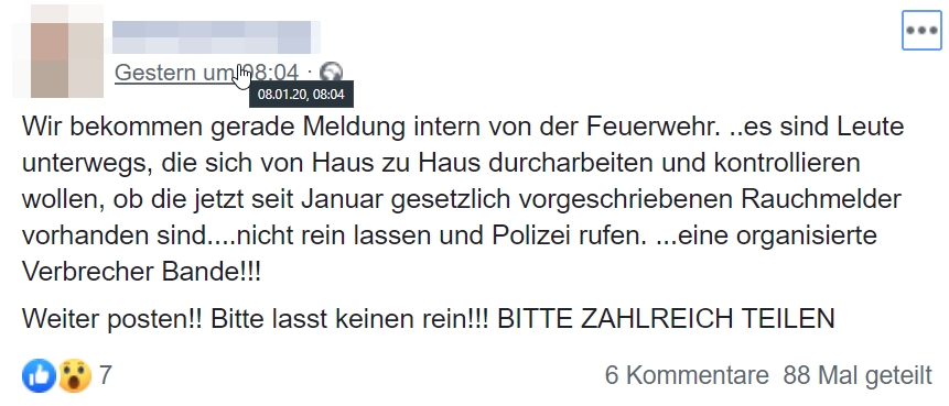 Screenshot: Facebook / Rauchmelderwarnung