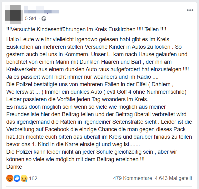 Posting Euskirchen, Quelle Facebook