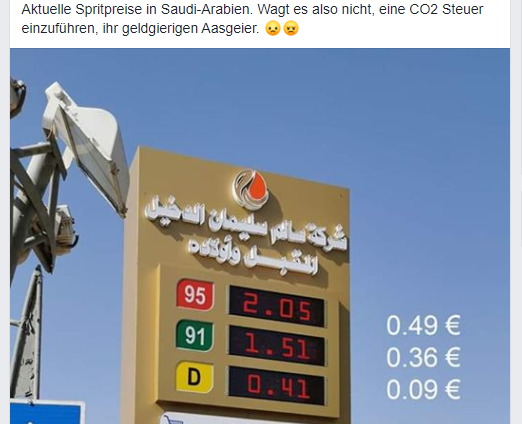 Spritpreise Saudi Arabien, Screenshot Facebook