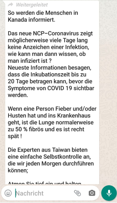 Screenshot: WhatsApp-Nachricht