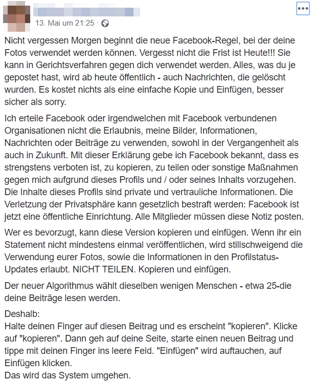 Screenshot: Facebook / Kettenbrief