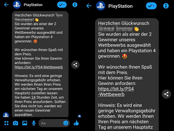 links: Zusendung an uns, rechts: Quelle Playstation DACH