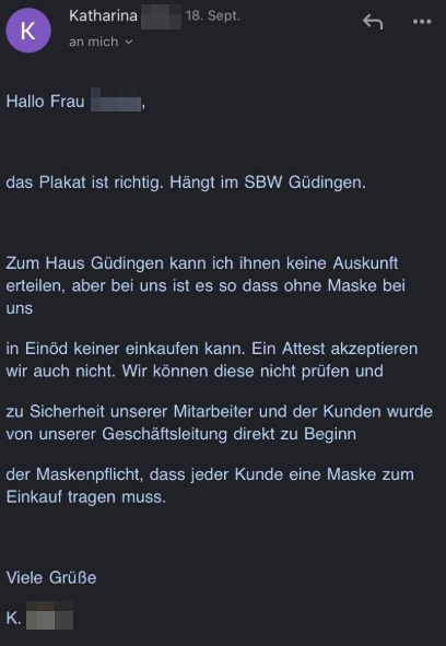 "Screenshot E-Mail von ""Globus"""