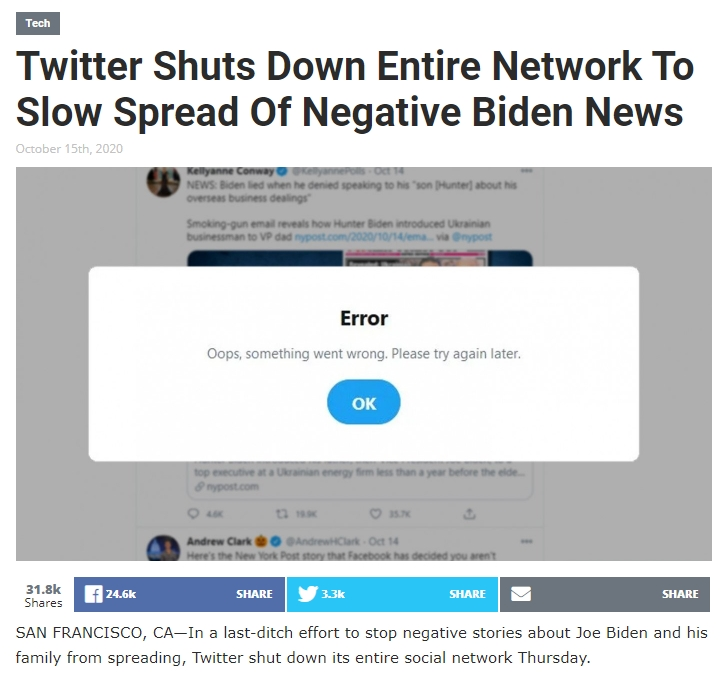 Screenshot: Twitter Shuts Down Entire Network To Slow Spread Of Negative Biden News