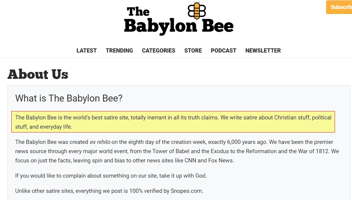 Screenshot https://babylonbee.com/about