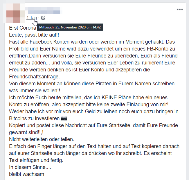 Screenshot Facebook-Statusbeitrag