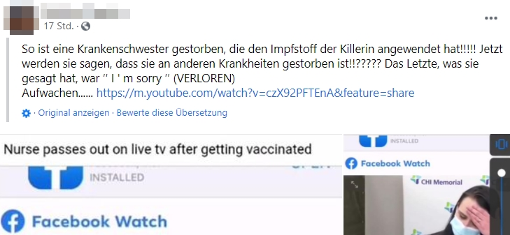 Screenshot / Facebook-Falschmeldung