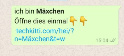 Screenshot WhatsApp-Nachricht