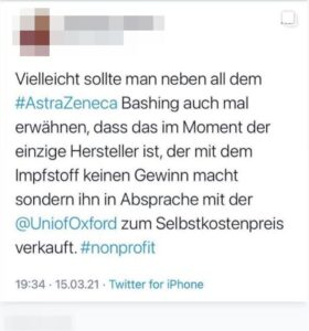 Screenshot des angefragten Twitter-Postings