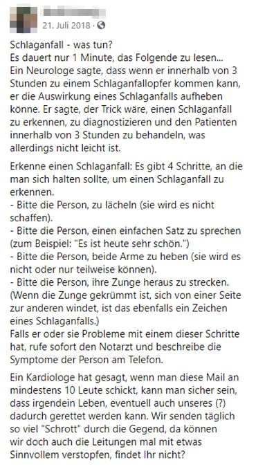 Screenshot Facebook Beitrag