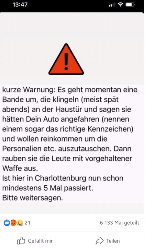 Screenshot: Facebook / Warnung